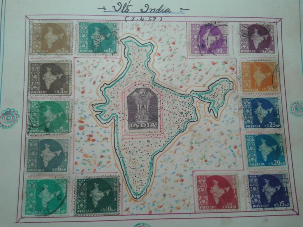 ભારતના નકશા વાળી ૧ પૈસા થી ૯૦ પૈસા સુધીની ટીકીટો નો પૂરો સેટ